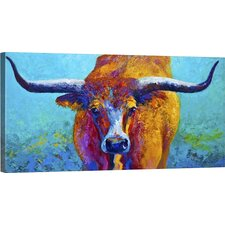 'Wide Spread Texas Longhorn' Painting Print on Wrapped Canvas