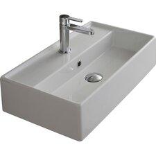"Teorema 16"" Wall Mounted Bathroom Sink with Overflow"