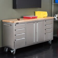 "Stainless Steel Rolling Rubberwood 72"" Wide 8 Drawer Bottom Rollaway Chest"