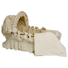 Moses Basket With Ivory Velour Bedding And Canopy