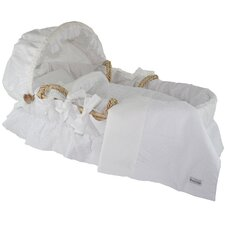 Moses Basket With White Eyelet Bedding And Canopy