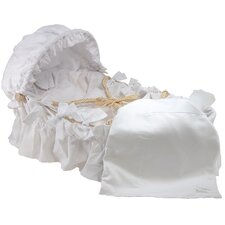 Moses Basket With White Pique Bedding And Canopy