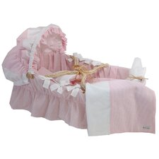 Moses Basket With Seersucker Bedding And Canopy