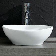 Modern Vitreous Bulging Oval Vessel Bathroom Sink