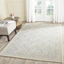 Palmer Hand-Tufted/Hand-Hooked Light Blue/Ivory Area Rug