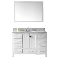 "Stoneham 48"" Single Bathroom Vanity Set with Carrara White Top and Mirror"