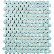 "Retro Penny Round 0.75"" x 0.75"" Porcelain Mosaic Tile in Matte Light Blue"