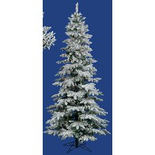 10' Flocked Layered Utica Fir Slim Artificial Christmas Tree with Multi Light