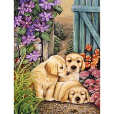 Yellow Labrador Puppies by Lesley Hallas 2-Sided Garden Flag