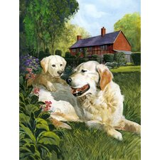 Yellow Labradors by Don Squires 2-Sided Garden Flag