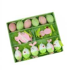 16 Piece Easter Egg, Chicken and Bunny Spring Decoration Set