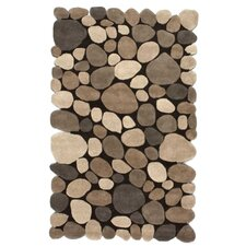 Pebbles Pebbles Hand-Tufted Dark Brown Area Rug