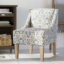 Geometric Hardwood Frame Slipper Chair