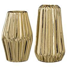 2 Piece Ceramic Fluted Vase Set