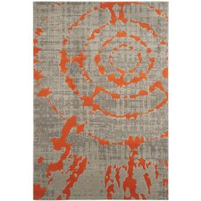 Deasia Light Gray & Orange Area Rug