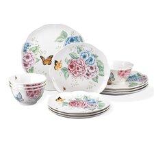 Butterfly Meadow Hydrangea 12 Piece Dinnerware Set, Service for 4