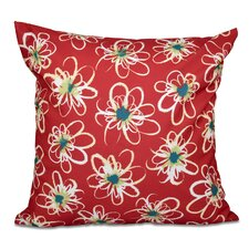 Cherry Penelope Floral Geometric Outdoor Throw Pillow by Latitude Run