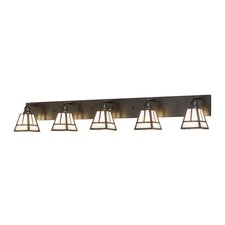 Greenbriar Oak T Mission 5-Light Vanity Light by Meyda Tiffany