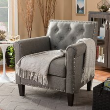 Baxton Studio Teresa Tufted Armchair in Grey by Wholesale Interiors