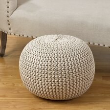 Cotton Twisted Foil Print Rope Pouf Ottoman by Saro