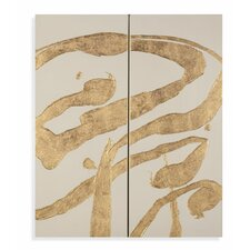 Thoroughly Modern 'Gold Splashes' Painting Prints on Canvas (Set of 2)