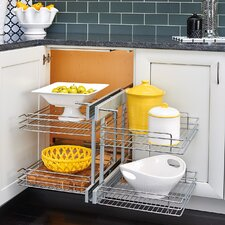 Blind Corner Cabinet Pull-Out Chrome 2-Tier Basket Organizer