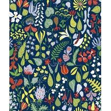 "Wall Vision 33' x 20.9"" Herbarium Motif Wallpaper Roll"