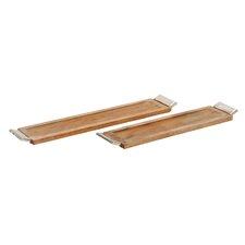2 Piece Wood and Aluminum Long Tray Set