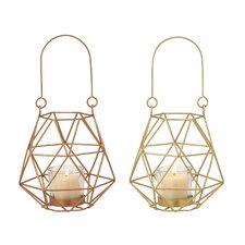 Metal and Glass Lantern (Set of 2)