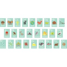 26 Piece Nature Themed Alphabet Wall Paper Print Set