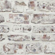 "Whitewashed Wall White 33.5' x 22"" Brick Wallpaper"