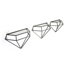 Metal Diamond Wall Shelf (Set of 3)