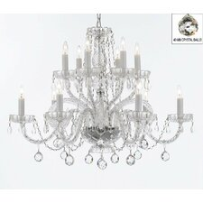 Atchley 12-Light White Crystal Chandelier