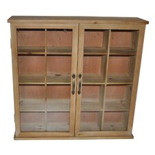 Wood Storage Cabinet with Glass Doors
