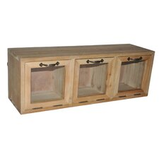 Wood Hanging Storage Cabinet with Glass Doors