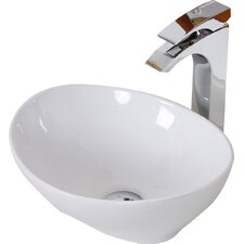 Ceramic Oval Vessel Bathroom Sink