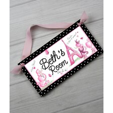 Ooh Lala Paris Poodle Personalized Bedroom Door Sign