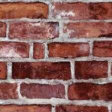 "Peel and Stick 9' x 24"" Brick Tile Wallpaper"