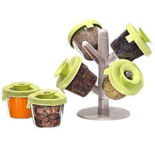 Pop Up 4 Jar Spice Jar & Rack Set