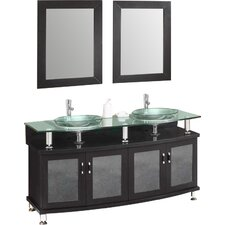 Classico Contento 60 Modern Double Sink Bathroom Vanity Set with Mirrors by Fresca