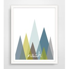 Modern Abstract Mountains Personalized with Name Paper Print