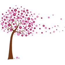Pink Cherry Blossom Flowers Tree Art Wall Sticker