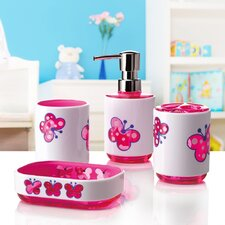 Kid's Butterfly 4-Piece Bathroom Accessory Set