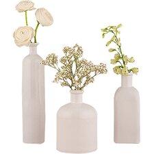 3 Piece White Table Vase Set