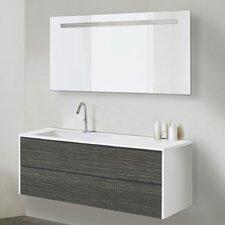 120 cm Wandmontierter Waschtisch Dniester mit Spiegel und Aufbewahrungsschrank