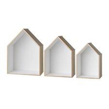 3 Piece Wood Display House Shelf Set