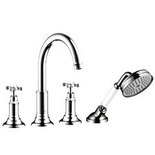 Axor Montreux Two Handle Deck Mounted Roman Tub Faucet with Hand Shower by Axor
