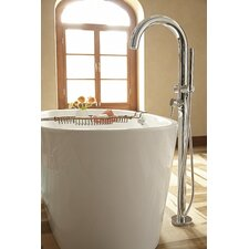 Single Handle Floor Mount Tub Filler with Personal Shower
