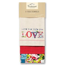 Oriental Patchwork 3-Piece Tea Towel Set