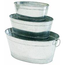 Petite Potager 3-Piece Galvanized Aluminum Pot Planter Set